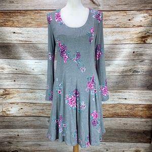 Torrid Gray & Pink Floral Knit Skater Dress